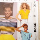 Misses' Pullover Tops, McCalls 9524 Pattern, Small 10 12, UNCUT