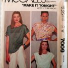 Misses' Pullover Tops, McCalls 7009 Pattern, Small 10 12, UNCUT