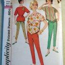 Vintage 1960's Misses Top & Pants Simplicity 3703 Sewing Pattern,  Sz 12, Uncut