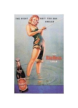 Red Rock Cola - Girl Fishing Tin Sign