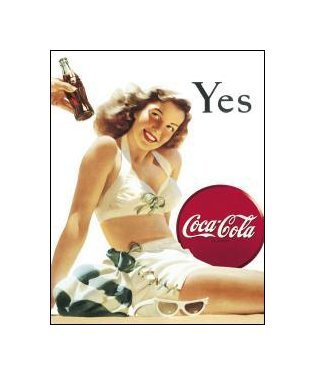 Coca Cola - Yes, Coca Cola Girl White Bathing Suit Tin Sign