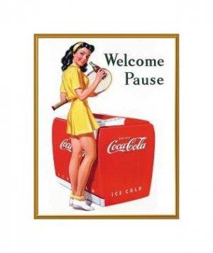 Coca Cola - Welcome Pause, Coca Cola Girl Tin Sign