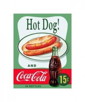 Coca Cola - Enjoy Coca Cola with a Hot Dog Tin Sign