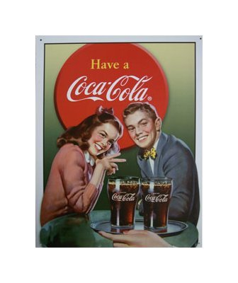 Coca Cola - Coca Cola Young Couple Tin Sign