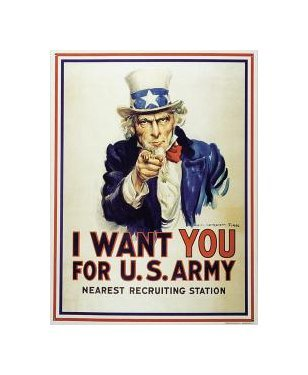 United States Army - Uncle Sam - I Want You Tin Sign