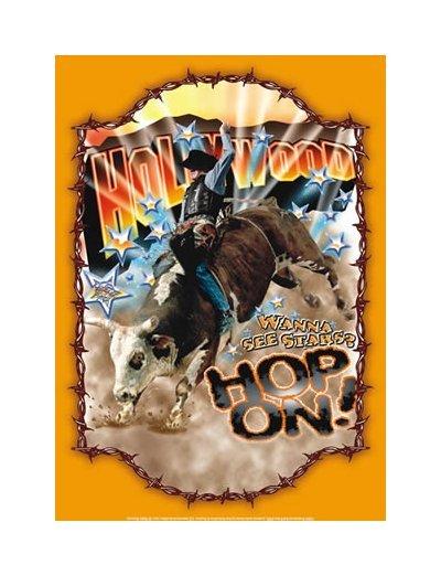 Rodeo Cowboy - Hollywood - Wanna See Stars? Hop On Tin Sign
