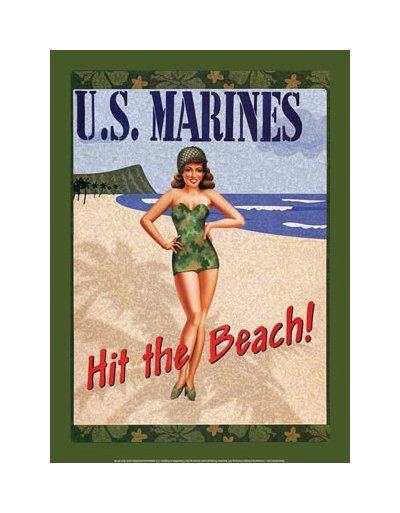 United States Marines - Hit The Beach Tin Sign