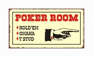 Poker Room - Hold Em - Omaha - 7 Stud - Metal Art Sign