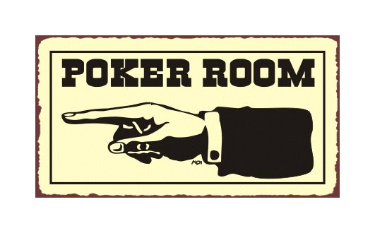 Poker Room to the Left - Metal Art Sign