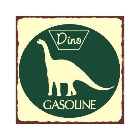 Dino Gasoline - Metal Art Sign