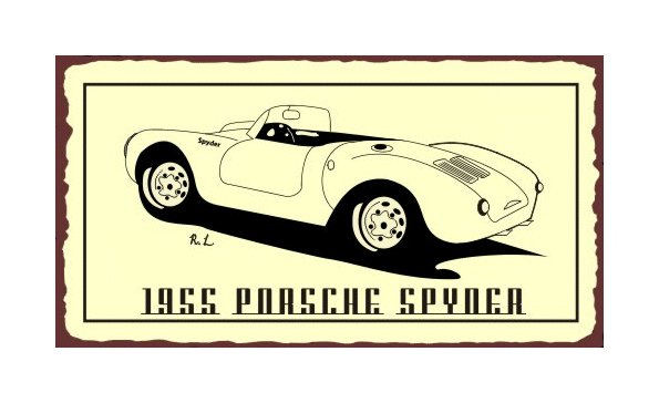 1955 Porsche Spyder - Metal Art Sign