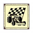 Race Car and Flag - Metal Art Sign