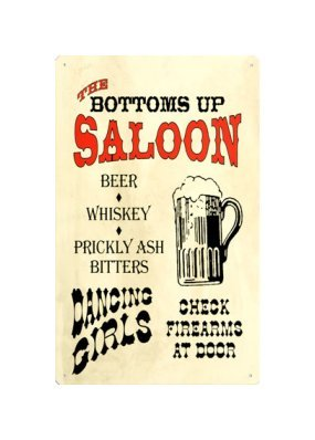 The Bottoms Up Saloon Tin Sign