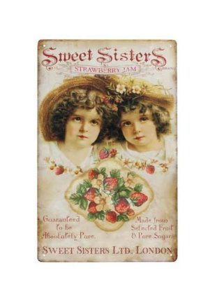 Sweet Sisters Strawberry Jam Tin Sign