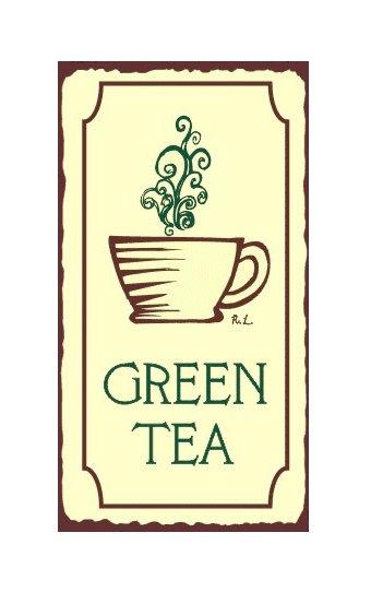 Green Tea Metal Art Sign