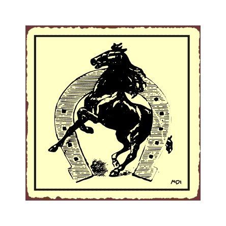 Horse in a Horseshoe Metal Art Sign