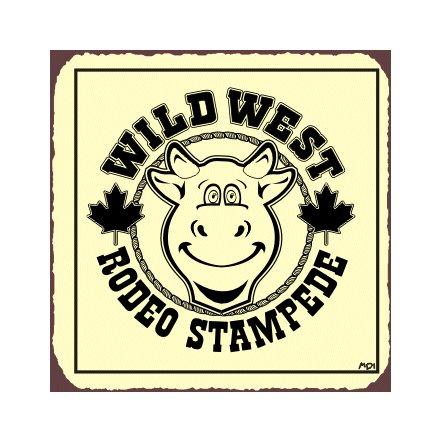 Wild West Rodeo Stampede Metal Art Sign