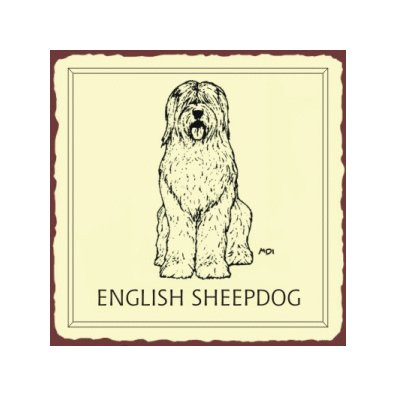 English Sheepdog Metal Art Sign