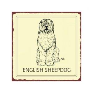 English Sheepdog Metal Art Sign