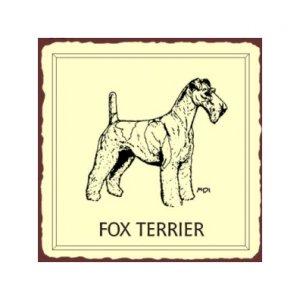 Fox Terrier Dog Metal Art Sign