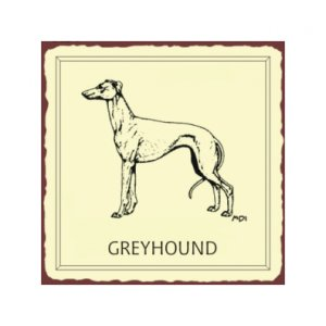 Greyhound Dog Metal Art Sign