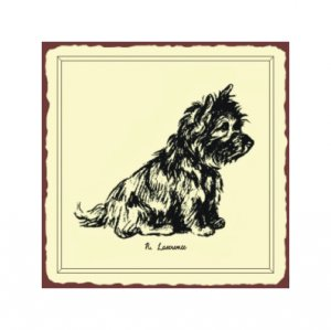 Norfolk Terrier Dog Sketch Metal Art Sign