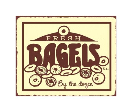 Fresh Bagels by the Dozen Metal Art Sign