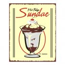 Hot Fudge Sundae Metal Art Sign