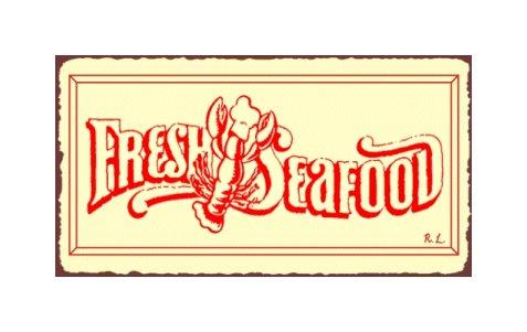 Fresh Seafood Metal Art Sign
