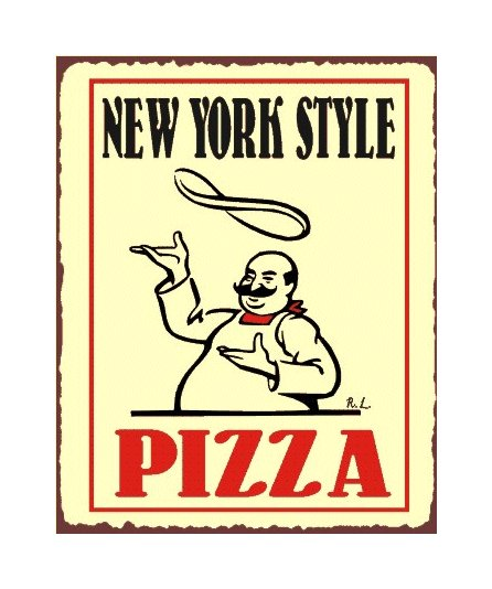 New York Style Pizza Metal Art Sign