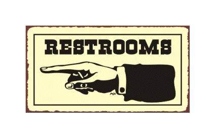 Restrooms to the Left - Metal Art Sign