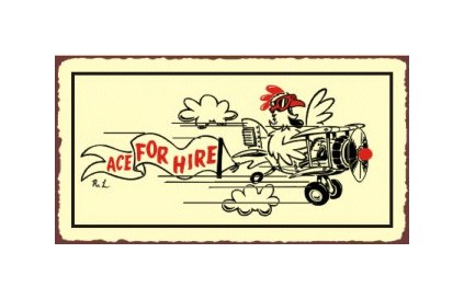 Ace For Hire Airplane Sign - Metal Art Sign