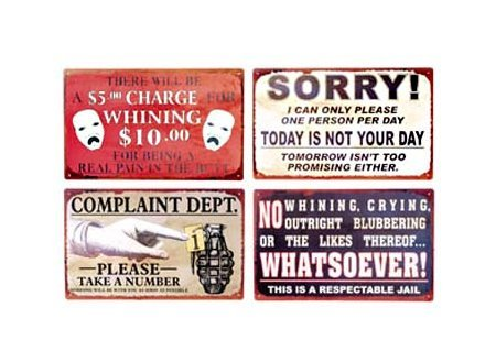 Complaint Department Signs - Set of 4 Tin Signs