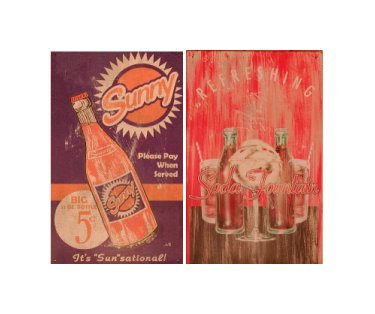 Sunny Cola - Refreshing Soda Fountain Signs - Set of 2 Tin Signs