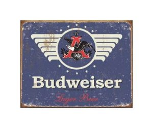 Budweiser Beer - 1936 Logo - Tin Sign