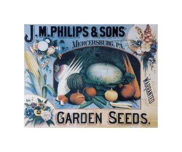J.M. Philips & Sons Garden Seeds Tin Sign