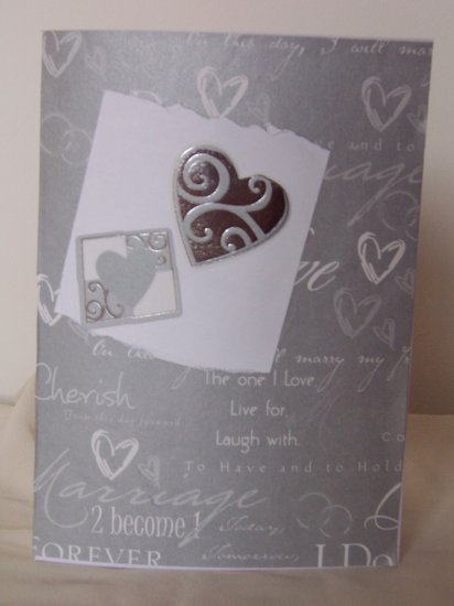 Silver hearts Wedding Card - FREE shipping!