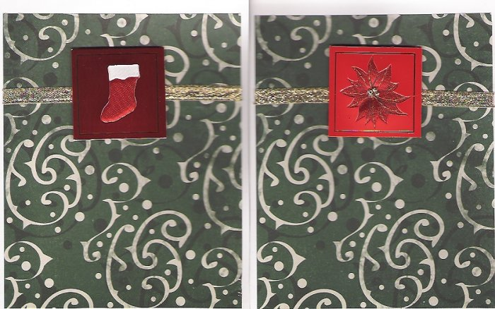 Green Scroll Christmas Cards - set of 12 - FREE shipping!