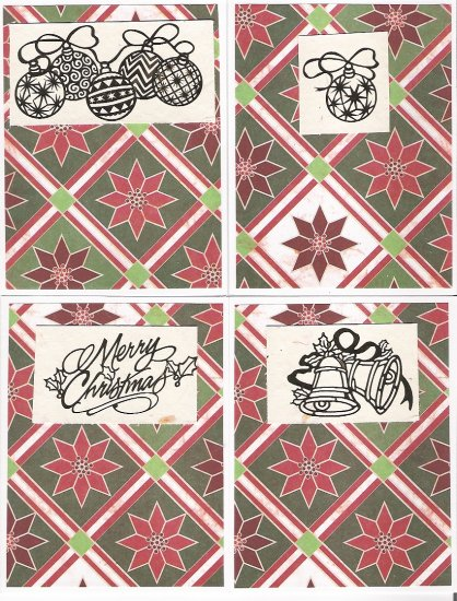 Poinsettia Tile Christmas Cards - set of 12 - FREE shipping!