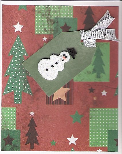 Rustic Snowman Christmas Card - set of 12 - FREE shipping!