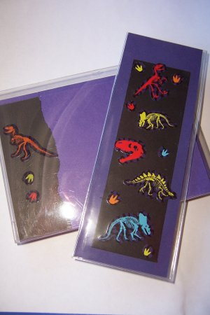 Dinosaur Notecard/Bookmark Set w/ Stickers  -FREE Shipping!