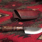 Native American French Trade Neck Knife Hand Forged Custom Leather Sheath also Belt Loop Sheath