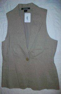 NWT Ellen Tracy Khaki Linen Suiting 1B Vest 8 $258 NEW