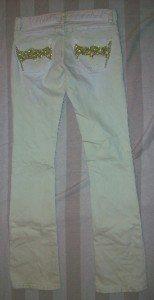 NWT ODYN Gold Embellish Pale Mint Jeans 27 32 x34 $185