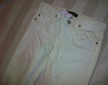 NWT ODYN Gold Embellish Pale Mint Jeans 25 28 x34 $185