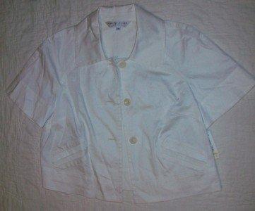 NWT Trina Turk Jacket Top White Cotton Linen 8 NEW $260