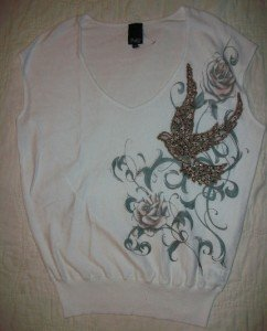 Faith Gem Detail Patch Thin Knit Sweater Top S $205 NEW