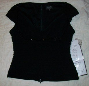 NWT Adrianna Papell Beaded Black Evening Top 6 $139 NEW