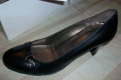 $245 NEW Attiva Italy Elegant Black Leather Heels 7 NIB