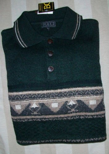 NWT Bocci Italy Texture Knit Green Polo Sweater L NEW